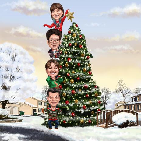 Карикатура группы людей украшающих елку нарисованная с фото - example