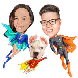 Karikatur Zeichnung von Fotos als fiktive Superhelden