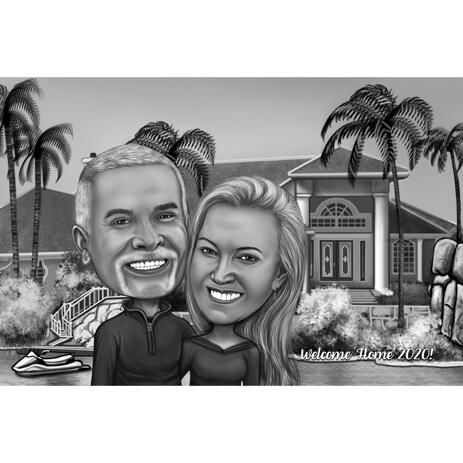 Welcome Home Couple Black and White Caricature Portrait with House Background from Photos - example