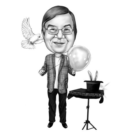 Magician Caricature Portrait from Photos in Full Body Black and White Style - example