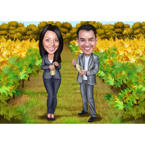 Winemakers Couple Caricature from Photos on Vineyard Background for Custom Gift - example