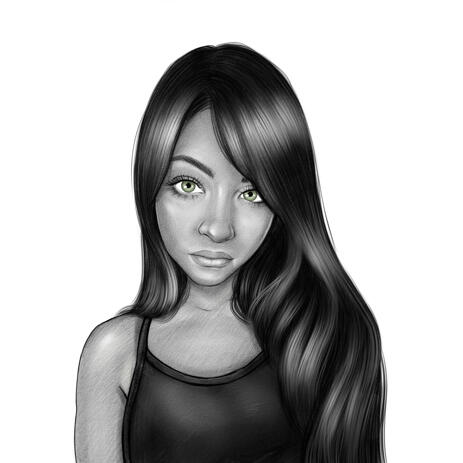 Girl Portrait in Black and White Head and Shoulders Style from Photos - example