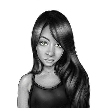 Fotodelt mustvalge pea ja õlgade stiilis tüdruku portree - example