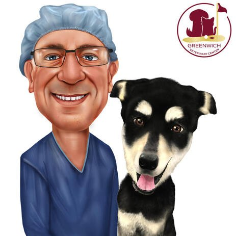 Vet with Pet Caricature for Custom Veterinary Gift - example