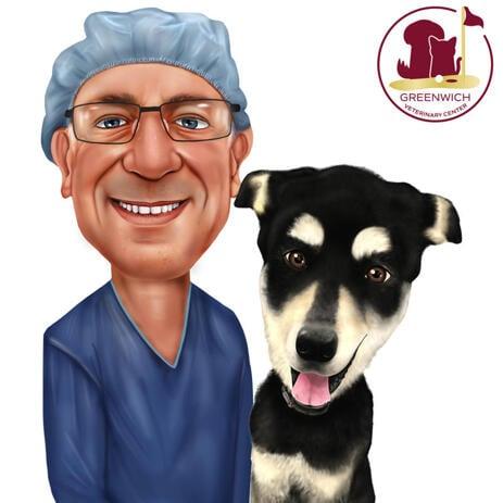 Vétérinaire avec caricature pour animaux de compagnie pour cadeau vétérinaire personnalisé - example