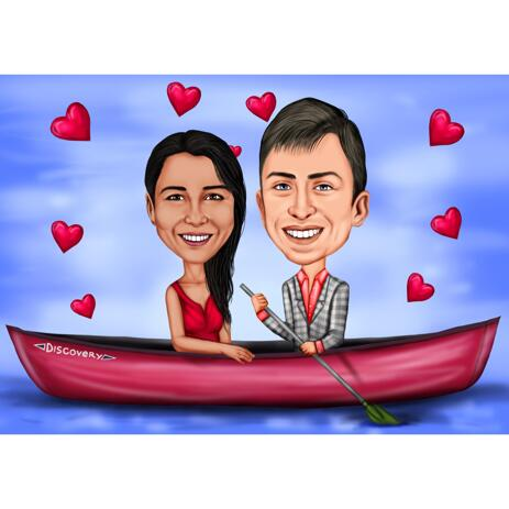 Couple in Boat Caricature from Photos - Anniversary Caricature Gift - example