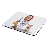Master and Dog Caricature as Mouse Pad