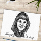 Cartoon on Paper: Personalized Drawing of Cartoon of Woman on Paper with Pencils