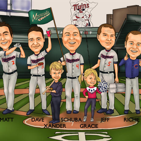 Baseball groomsmen karikatur fra fotos - example