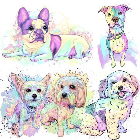 Custom Dog Cartoon - Pastel Watercolor Style Full Body - example