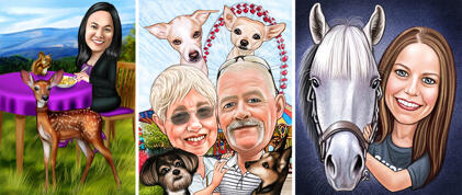 Owner with Pets Caricatures
