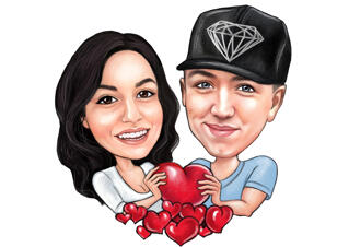 Couple Caricature Holding Heart for Valentines Day Card