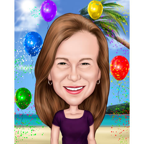 Caricature Gift from Photos for Mom's Birthday with Custom Background - example