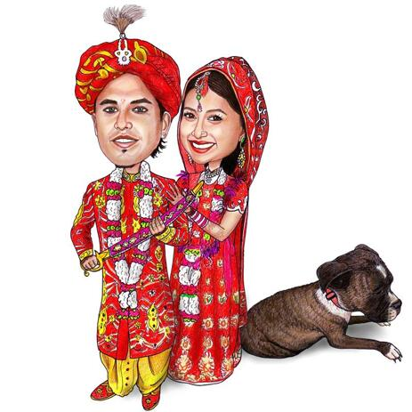 Custom Indian Couple with Pet Full Body Caricature from Photos in Color Style - example