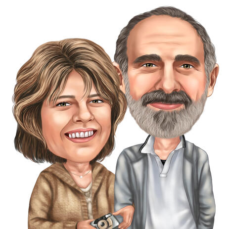 Couple of Photographers Caricature Drawing in Colored Style from Photo - example