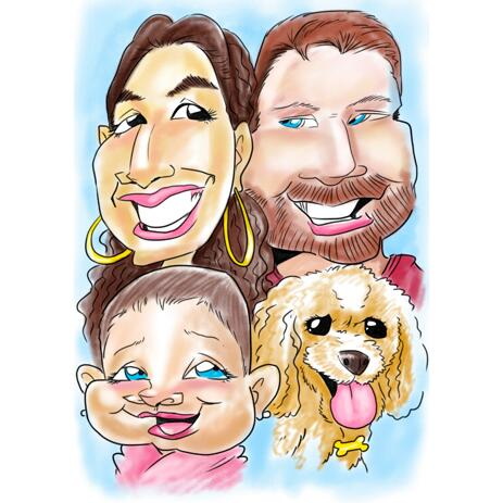 Exaggerated Family Caricature from Photos in Funny Style - example