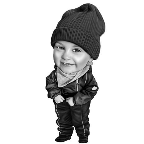 Kid Boy karikatuur portret in Full Body zwart-wit stijl van foto - example