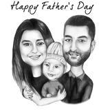 Kundenspezifische Familien-Gruppen-Karikatur kardiert Zeichnen