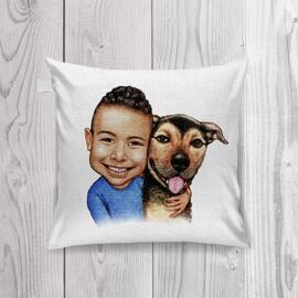 Kid and Dog Caricature as Pillow