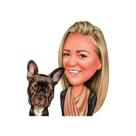 Person with French Bulldog Caricature in Color Style from Photos - example