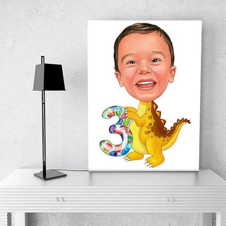Birthday Children Caricature on Canvas - example