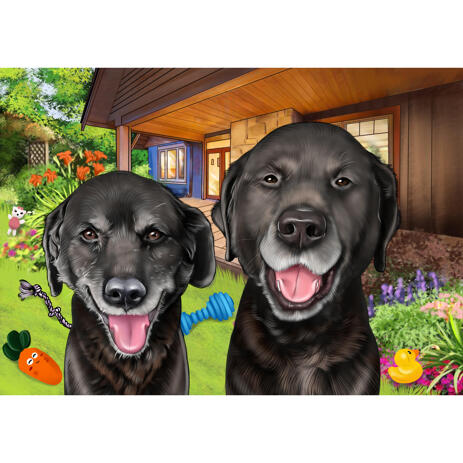 Custom Dogs Cartoon Portrait in Colored Style with Yard of Toys Background - example