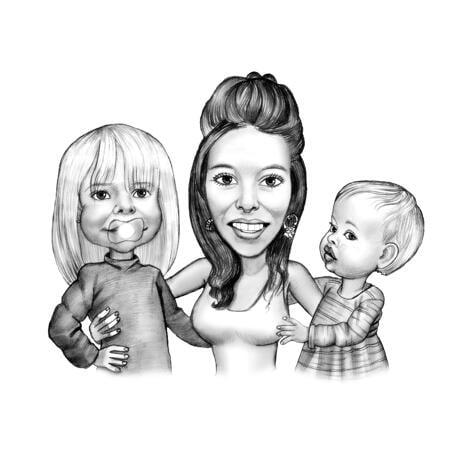 Caricatura de retrato de mãe com duas crianças em preto e branco - example