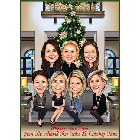 Christmas Group Caricature with Christmas Tree Background - example