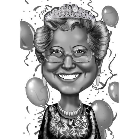 Birthday Queen Grandma Caricature Gift in Black and White style from Photo - example