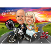 Funny Wedding Couple on Motorcycle Colored Caricature with Sunset Background