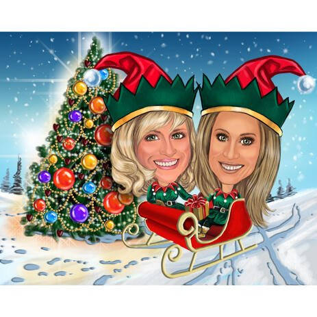 Two Persons in Santa's Sleigh with Christmas Tree Background - example