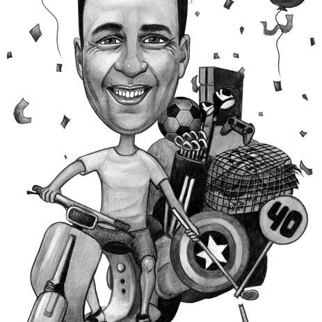 Birthday Caricature Featuring Any Vehicle with Black and White Pencils - example