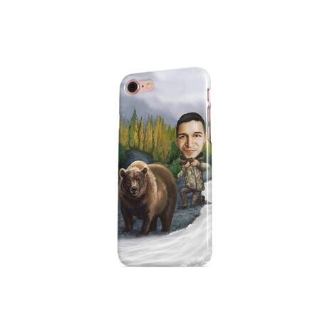 Man with Pet Caricature on Phone Case - example