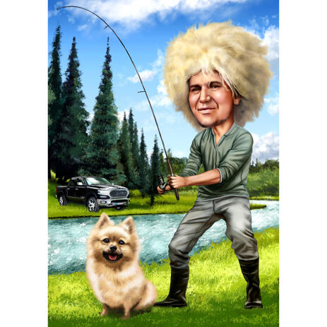 Fisher with Pet Full Body Caricature with Nature Background for Fabulous Fisherman Gift Idea - example