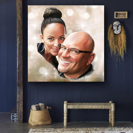 Romantic Couple Cartoon Portrait with Colored Background on Canvas - example