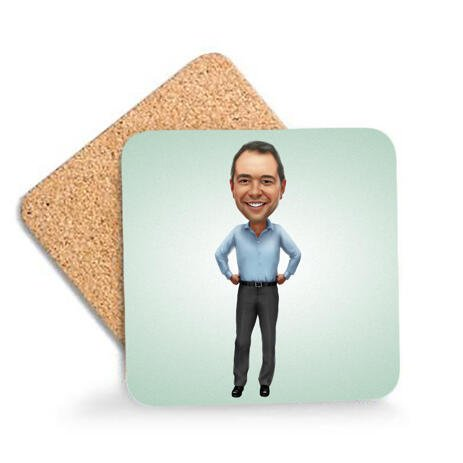 Office Caricature on Photo Coasters - example