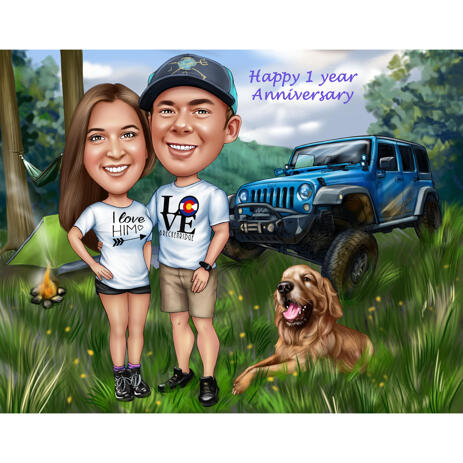 Custom Anniversary Caricature Gift for Camping Lovers - example