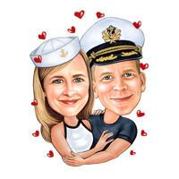 Цветная карикатура пары в морском стиле нарисованная с фотографии