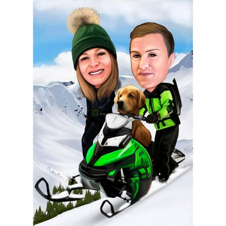 Winter Jet Skiing Couple Caricature for Jet Ski Lovers - example