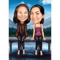 Two Friends Full Body Caricature in Colored Style for Best Friend Gift