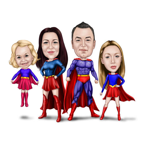 Custom Superhero Family Caricature Portrait from Photos - example