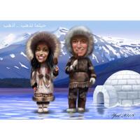 Personer Eskimo tegneseriekarikatur i farvestil med arktisk baggrund