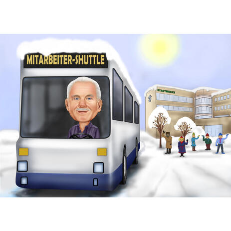 Busman Caricature Cartoon with Custom Background for Best Bus Driver Gift - example
