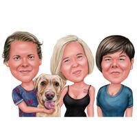Gruppe von Personen mit Labrador-Hundekarikatur-Karikatur-Hand gezeichnet von den Fotos