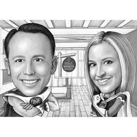 Caricatura di supereroi di due persone per uso aziendale - example
