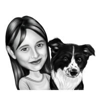 Kid with Pet Cartoon Caricature in Black and White Style