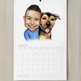 Kid with Dog Caricature on Calendar