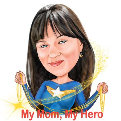 Cartoon Drawing from Photo of Woman in a Random Superhero Costume featured Mother's Day Texts - example