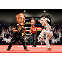 Custom Kung Fu Caricature Drawing in Color Style with Custom Background