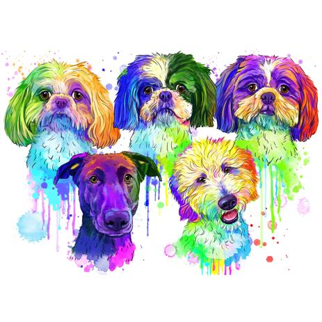 Colorful Watercolor Dogs Portrait from Photos - example